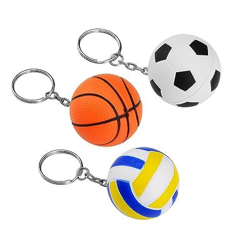 Asiv 3 Piezas Deportes Bola Llaveros Goma Aprieta Bolas para Estrés Alivio (Fútbol, Baskball, Voleibol)