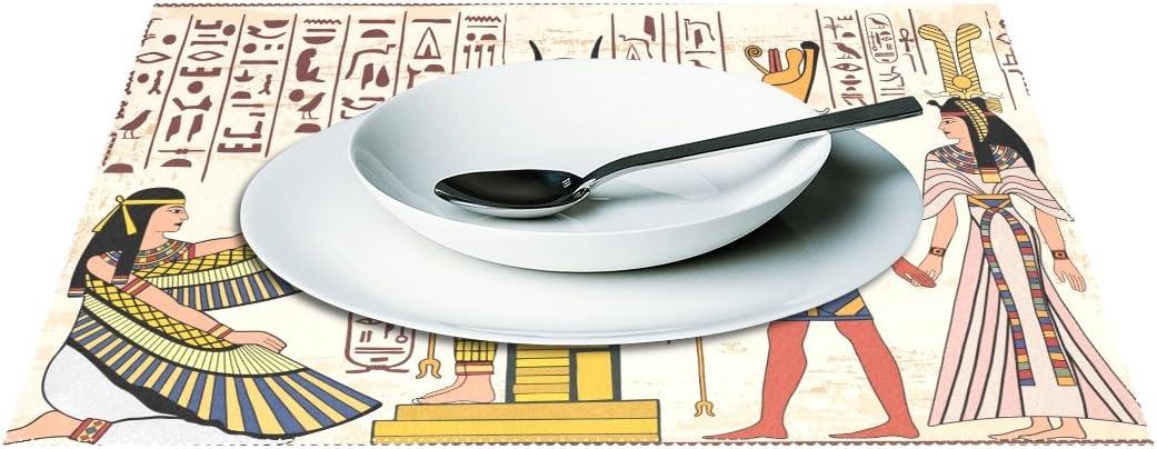 yochoice Nacional Egipcio de dibujo de dioses adorno Placa de jeroglíficos mantel individual soporte juego de 1, elegante poliéster manteles de mesa pantalla para cocina comedor 12
