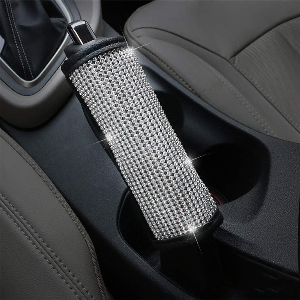Garispace Leather Steering Wheel Cover with Crystal Bling Bling Crystal Rhinestones Anti Slip Protector Automotive Interior Handbrake Cover
