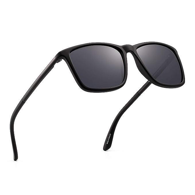 ec6cdfc8696 Polarized Driving Sunglasses Retro Square UV protection Classic Sun Glasses  Men (Black Polarized Grey