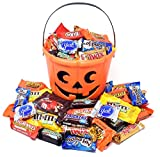 #4: Halloween Gift Orange Bucket with Chocolate Bars and Candies, Nestle, Almond Joy, York, M&M's, MilkyWay, KitKat and Reese's and Twix, 3 Lbs