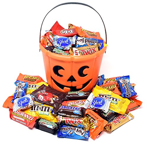 Halloween Gift Orange Bucket with Chocolate Bars and Candies, Nestle, Almond Joy, York, M&M's, MilkyWay, KitKat and Reese's and Twix, 3 Lbs