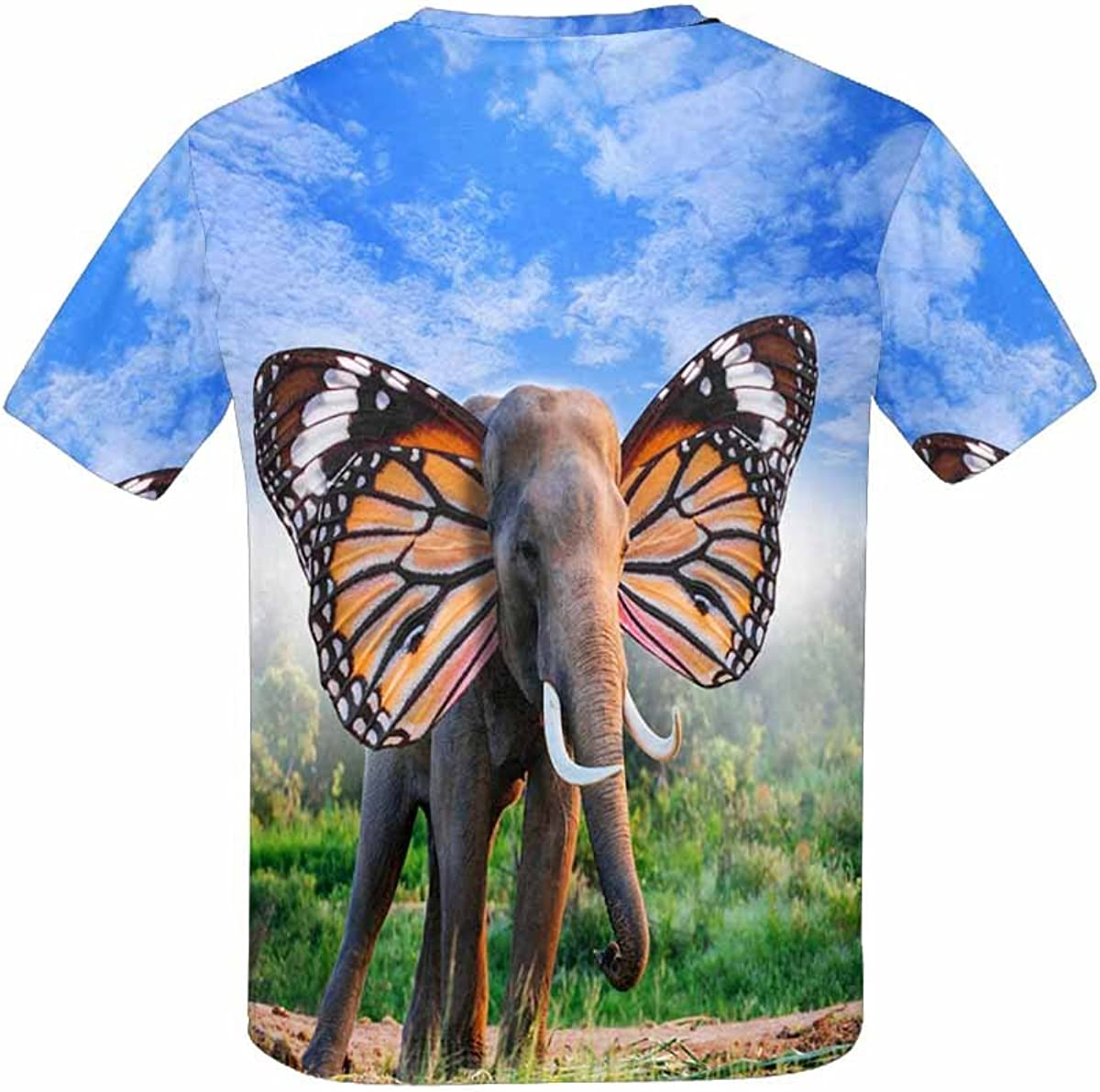 XS-XL INTERESTPRINT Elephant Portrait with Butterfly Wings Kids T-Shirt