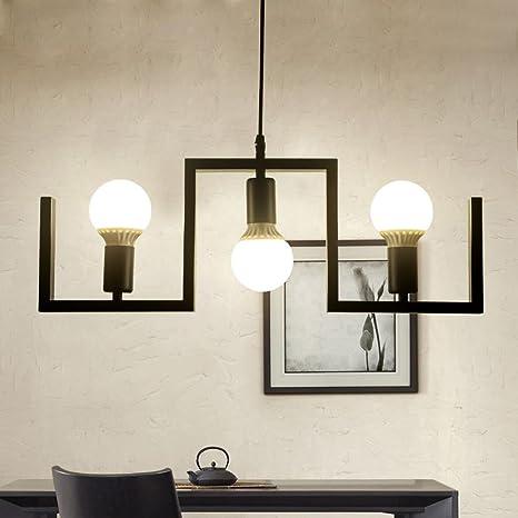 3 luces Lámpara colgante Retro Chic Negro Hierro Curvado Pipa Diseño ...