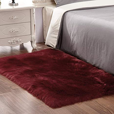 Super Soft Thick Fluffy Faux Sheepskin Area Rug For Living Room Bedroom Dormitory Home Decor Fuax Fur Shag Carpet 3ft X 5ft Burgundy Kitchen Dining