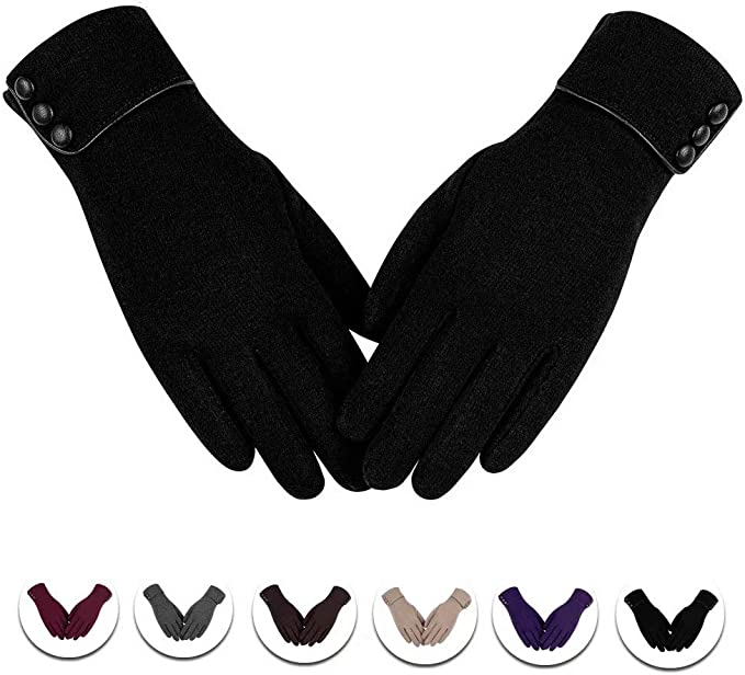 Women Ladies Winter Warm Thick Fleece Lined Thermal Button Design Gloves