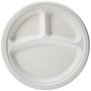 AmazonBasics Compostable Plate, 3 Compartment, 9-Inches, 500 Plates