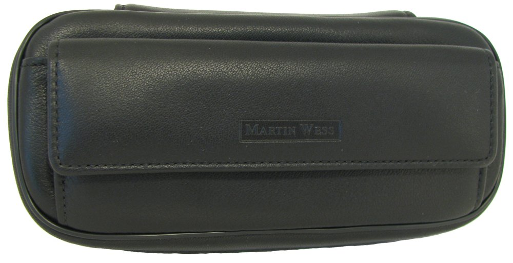 Martin Wess Germany ''Lea'' Soft Lamb Nappa Leather 2 Pipe Bag Case