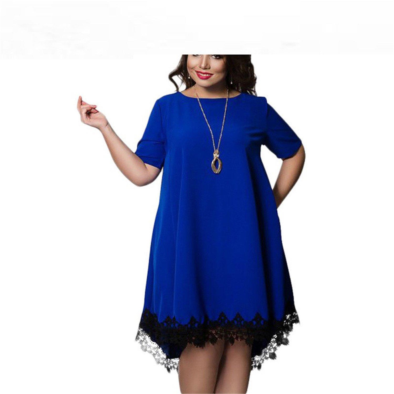 d56b69df2ee Amazon.com  Baqijian Plus Size Dress Women Summer Dresses Short Sleeve  Female Lace Dress Stylish Costume 4Xl 5Xl 6Xl Blue XXL  Clothing