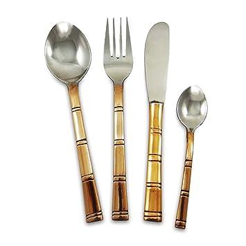 Indian Acero Cobre Cubiertos fijado para el 2 Cuchara Tenedor Cuchillo tradicional de vajilla: Amazon.es: Hogar