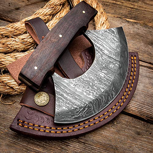 Timber Wolf Classic Ulu Knife with Sheath - Damascus Steel Blade, Wooden Handle, Brass Screws - Width 3 3/4