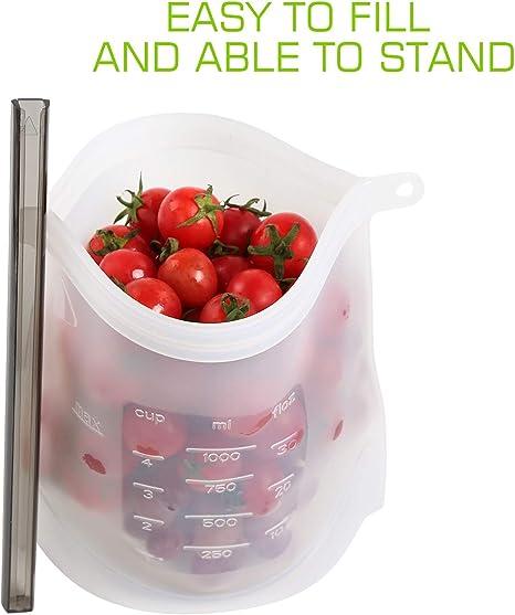 Silicona Reutilizable Alimentos Bolsa de Almacenamiento, Ballery ...