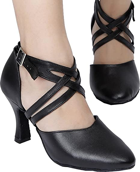DIY Dance Shoes- Ballroom, Lindy, Swing Abby AQ-6175 Womens Latin Tango Cha-Cha Kitten Heel Round-toe Leather Dance-shoes $43.90 AT vintagedancer.com