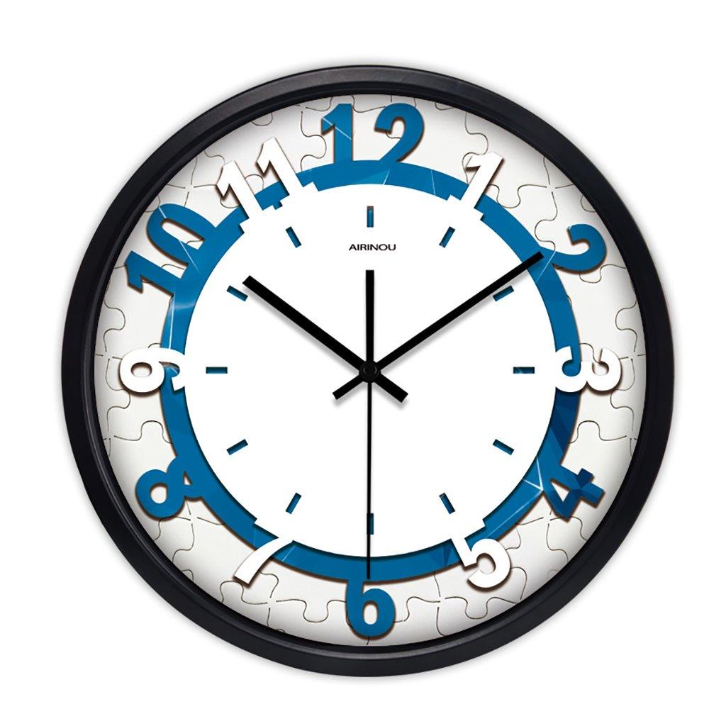 現代のクリエイティブファッション絵画ジグソーパズル広いリビングルームウォールクロックシンプルな円形のクォーツ時計 (色 : 2, サイズ さいず : 12in) B07FVRJ4P2 12in 2 2 12in