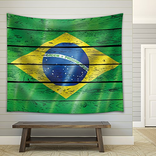 Brazilian Flag on a Wooden Backgrond Fabric Tapestry