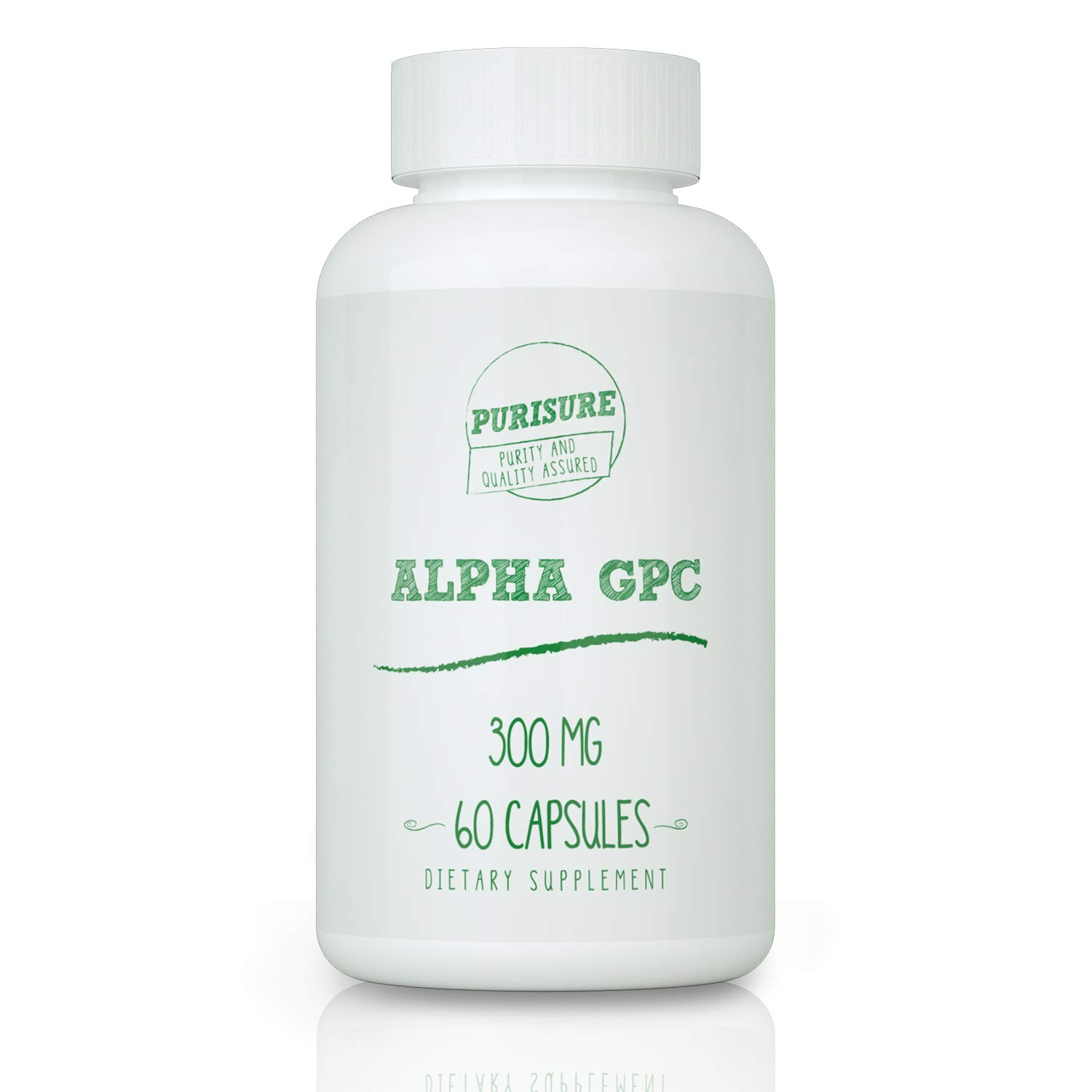 Purisure Alpha GPC Capsules   Nootropic   Cognitive Enhancer   Improves Memory, Learning, and Focus   Better Athletic Performance   300 mg 60 Capsules