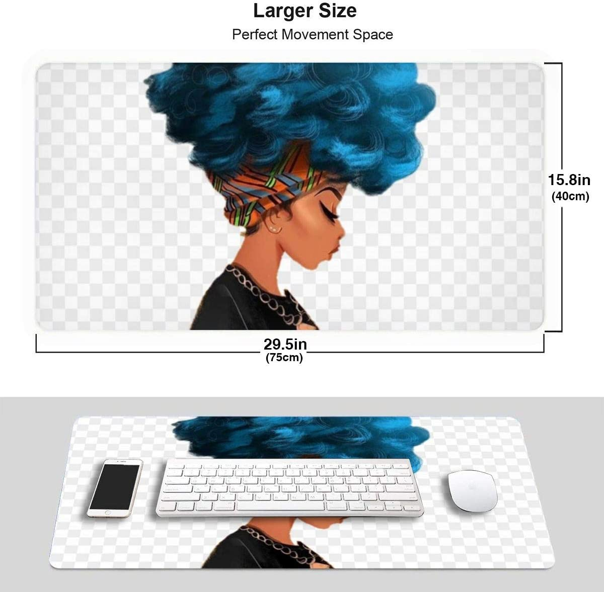 Afro African American Women Large-Scale Extended Gaming Mouse Pad with A Non-Slip Rubber Base with Stitching Edges,Computer Keyboard Pad for Office Home Games,15.829.5 in,Desk Mat