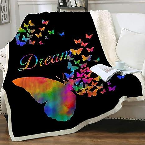 Sleepwish Sherpa Fleece Fluffy Blanket Rainbow Butterfly