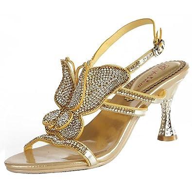 SYYAN Damen Leder Strasssteine Pure Handmade Flip Flops Sandalen, Gold, 39