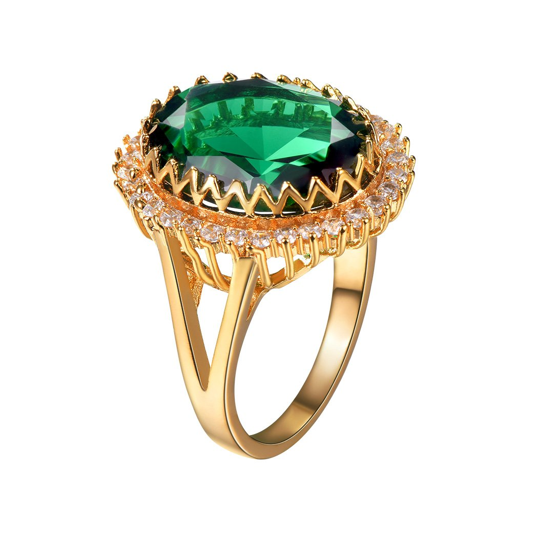 Simulated Emerald Ring For Engagement/Wedding,Gold Plated CZ Solitaire Ring Size 7