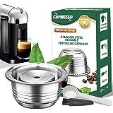 CAPMESSO Coffee Capsule, Stainless Steel Reusable Coffee Pod for Espresso Nespresso Refillable Vertuo Capsule Pod…