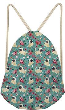 Drawstring Backpack Pug Dog Bags