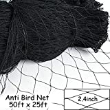 DQS 25' X 50' Net Netting for Bird Poultry Aviary Game Pens New 2.4'' Square Mesh Size to Protect Plants ,Vegetables,Fruit Trees