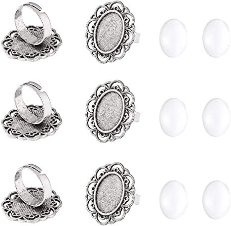 UNICRAFTABLE 5pcs Stainless Steel Ring Base Blank Bezel Adjustable Pad Cabochon Base Flat Round Finger Rings Components Findings for Jewelry Making Supplies