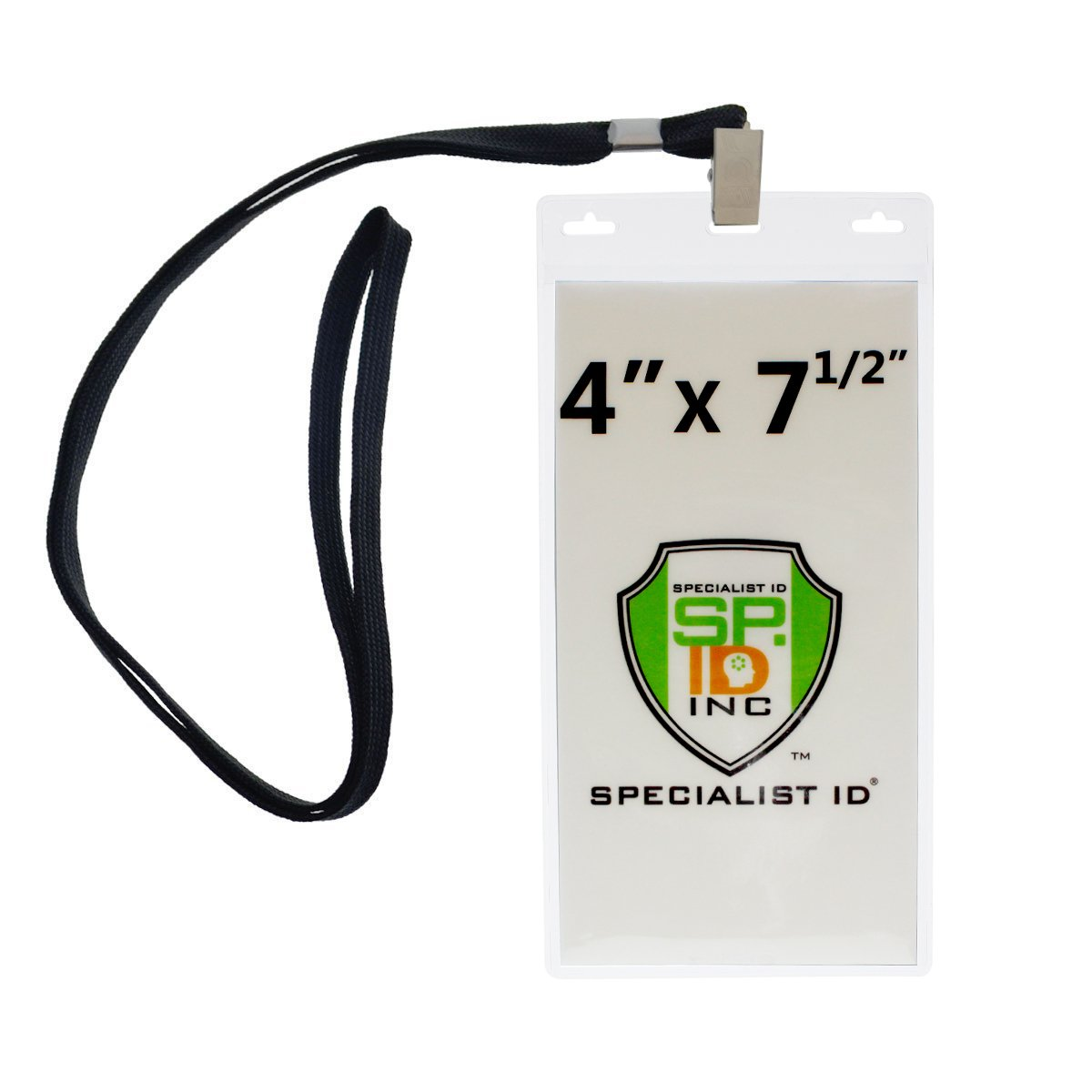 Lanyards with 4X7 Extra Large Ticket Holders for Pit Passes and Playoff Games (Pack of 10) (Black)