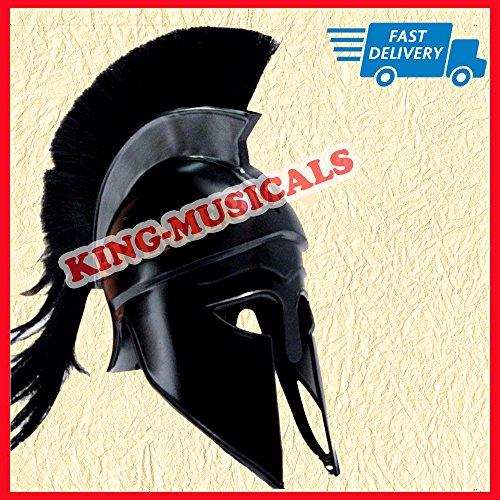 Gladiator Helm (Greek Corinthian Helmet with Black Plume, Medieval Gladiator Knight Spartan Helm)
