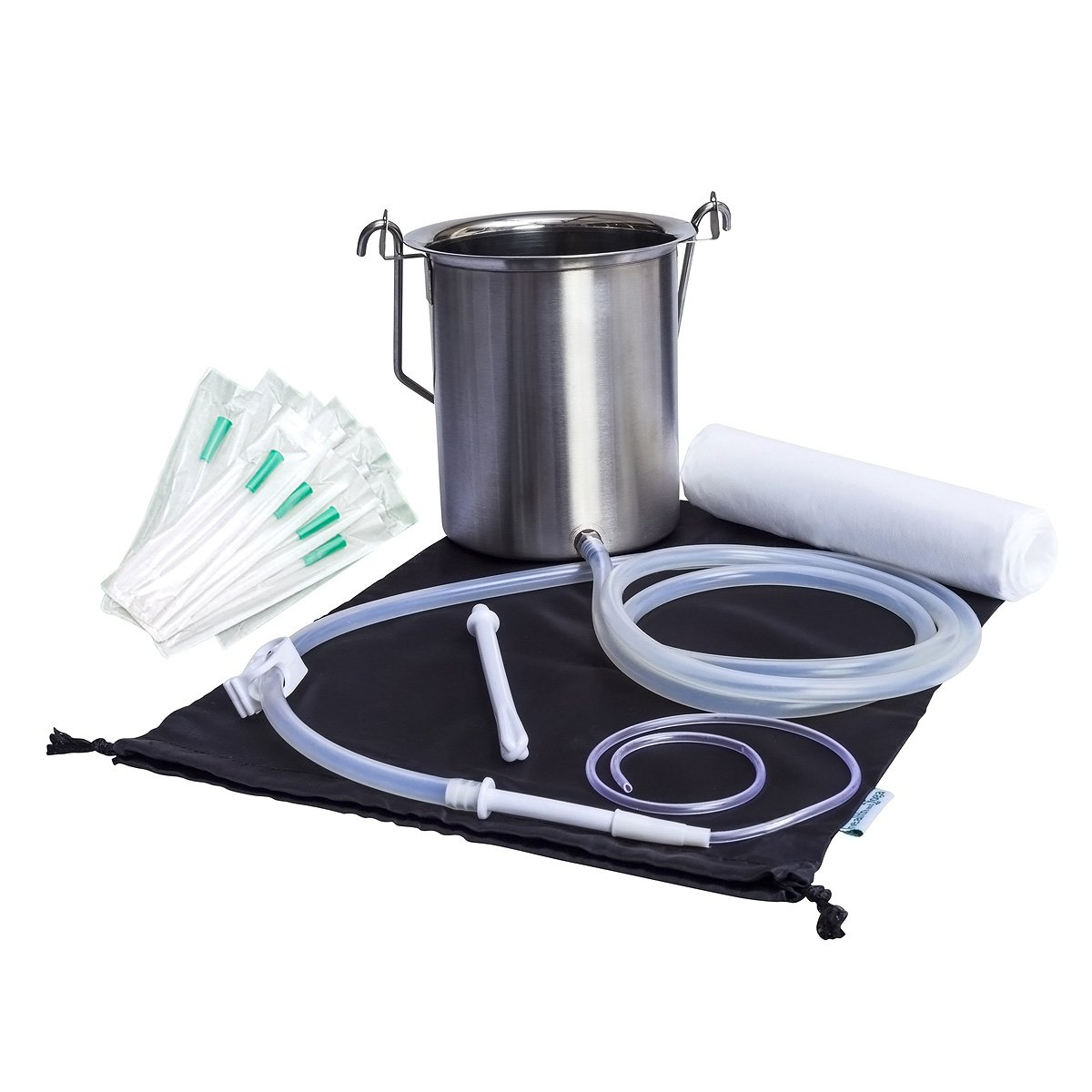 Super Quality Surgical Steel Grade Enema Bucket Kit with Platinum Cured Silicone Tubing - 2 Quart Capacity with Shower Suspension - BPA, Phthalate Free Components and Enema Sheet (Plus 10 Soft Tips)