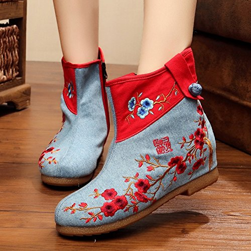 Women's round Blue canvas boots embroidered head Cowboy pHqOpr