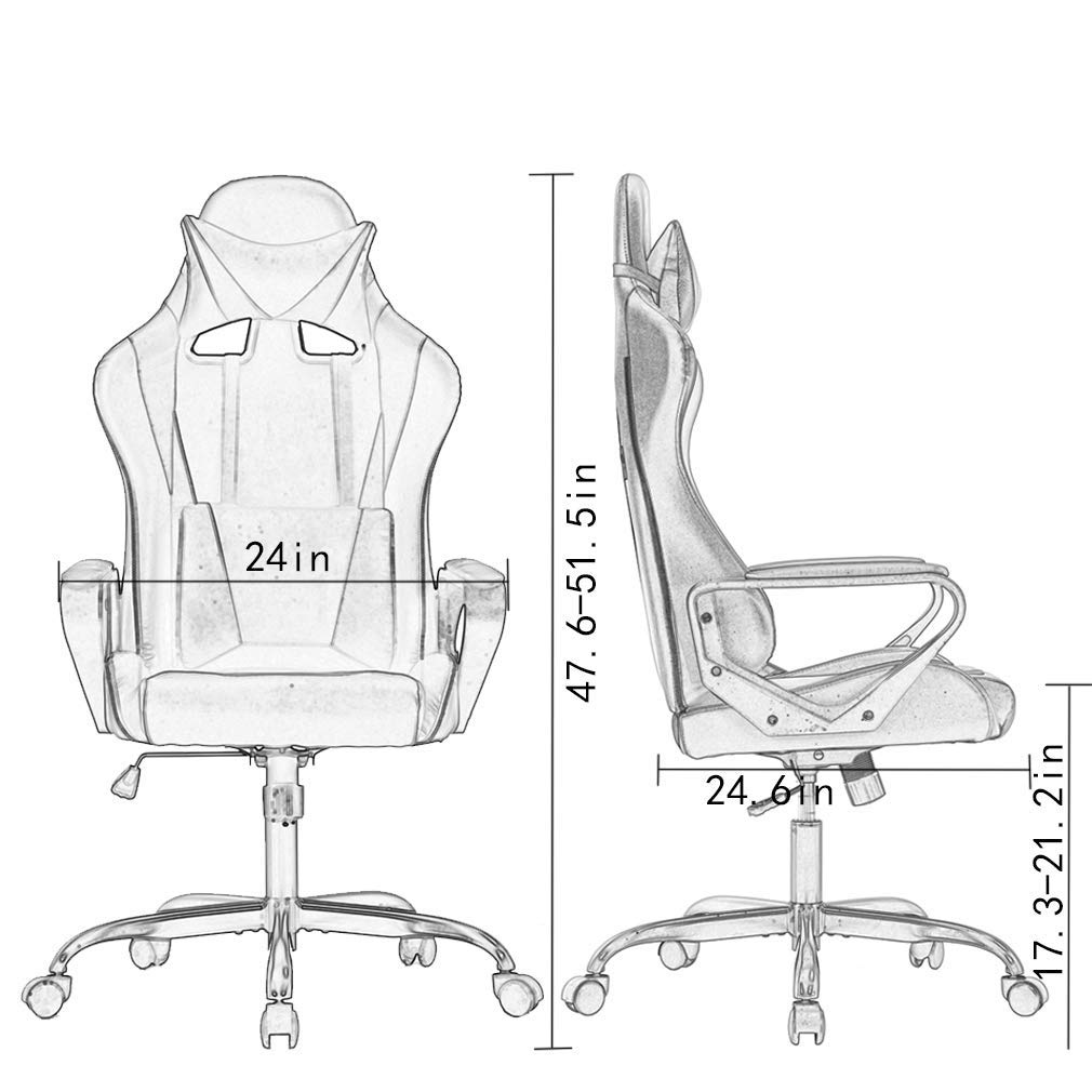 High-Back Gaming Chair PC Office Chair Computer Racing Chair PU Desk Task Chair Ergonomic Executive Swivel Rolling Chair with Lumbar Support for Back Pain Women, Men (White) by BestOffice