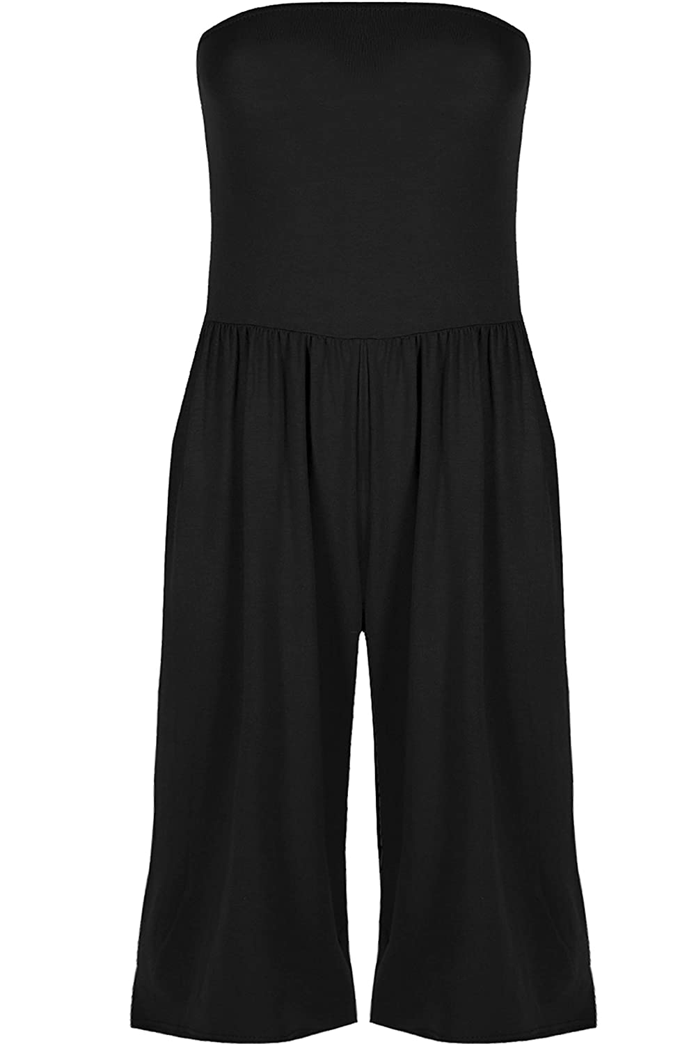 Fashion Star Womens Boobtube Ruched Palazzo Jumpsuit Wide Legs Baggy Pants Playsuit