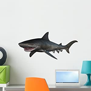 Wallmonkeys Tiger Shark Wall Decal Peel and Stick Animal Graphics (24 in W x 18 in H) WM176042