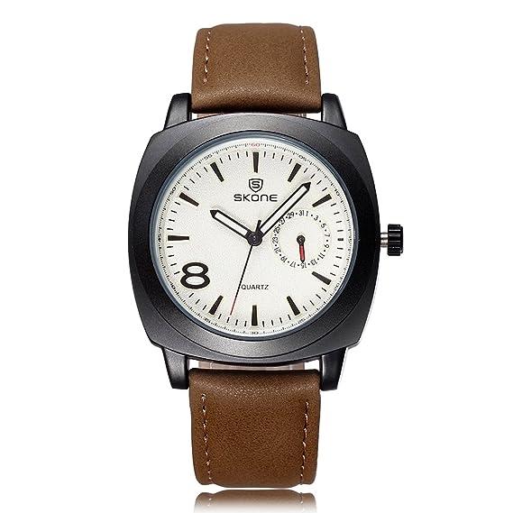 Skone banda de piel sintética analógico reloj luminoso de los hombres calendario especial 505904 (marrón