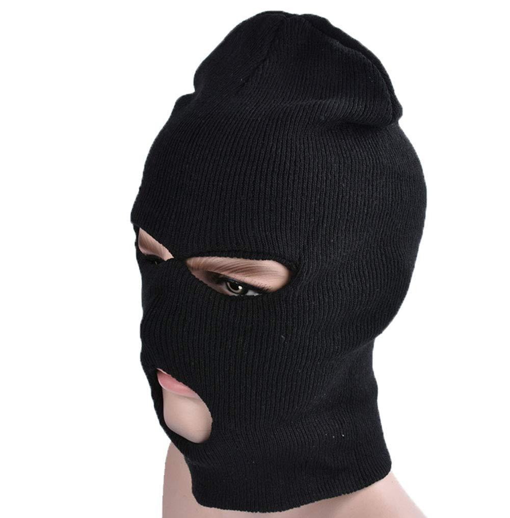 Boboder Hiver Thermique Noir Cagoule 3 Trou Masque en Plein Air Épaissir Plus Chaud Coupe - Vent Chapeau De Ski Masque Complet Visage pour Adulte Unisexe