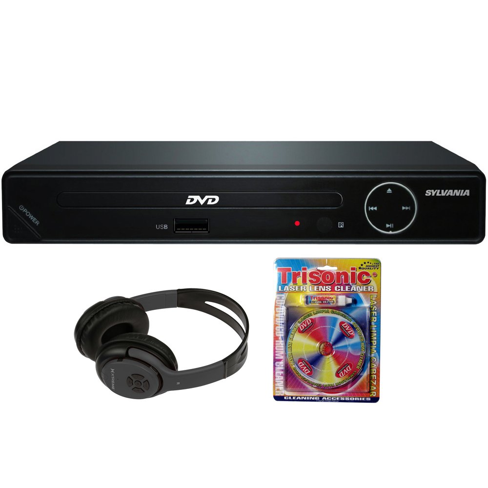 Sylvania HDMI 1080p High Definition DVD Player with USB Port (SDVD6670) + Bluetooth Bundle with Wireless Headphones