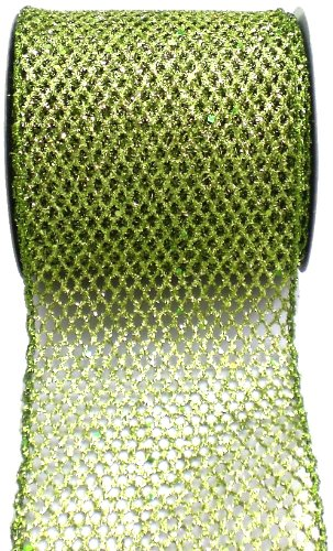 Kel-Toy Metallic Glitter Mesh Net Ribbon, 4-Inch by 10-Yard, Apple Green