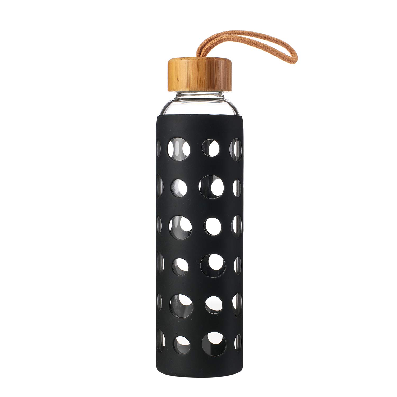 Kodrine Glass Water Bottle with Silicone Sleeve and Leak Proof Bamboo Lid 20oz-BPA Free