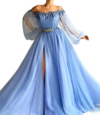Sky Blue Evening Gowns Beaded Embroidery Long Sleeves Side Split Prom Dress at Amazon Womens Clothing store: