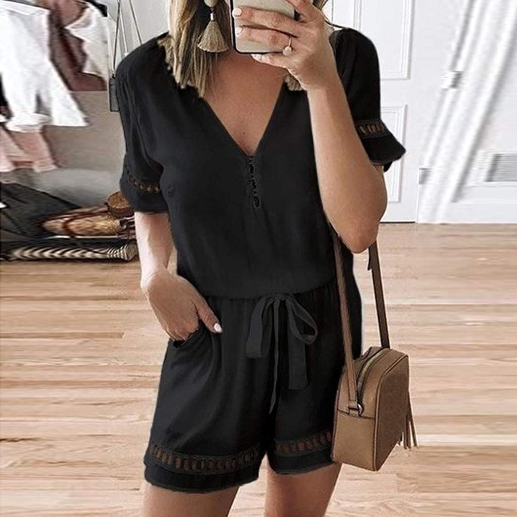 Dainzuy Womens Casual Lace Patchwork Rompers V Neck Short Sleeve Pocketed Tie Playsuit Short Jumpsuits with Belts