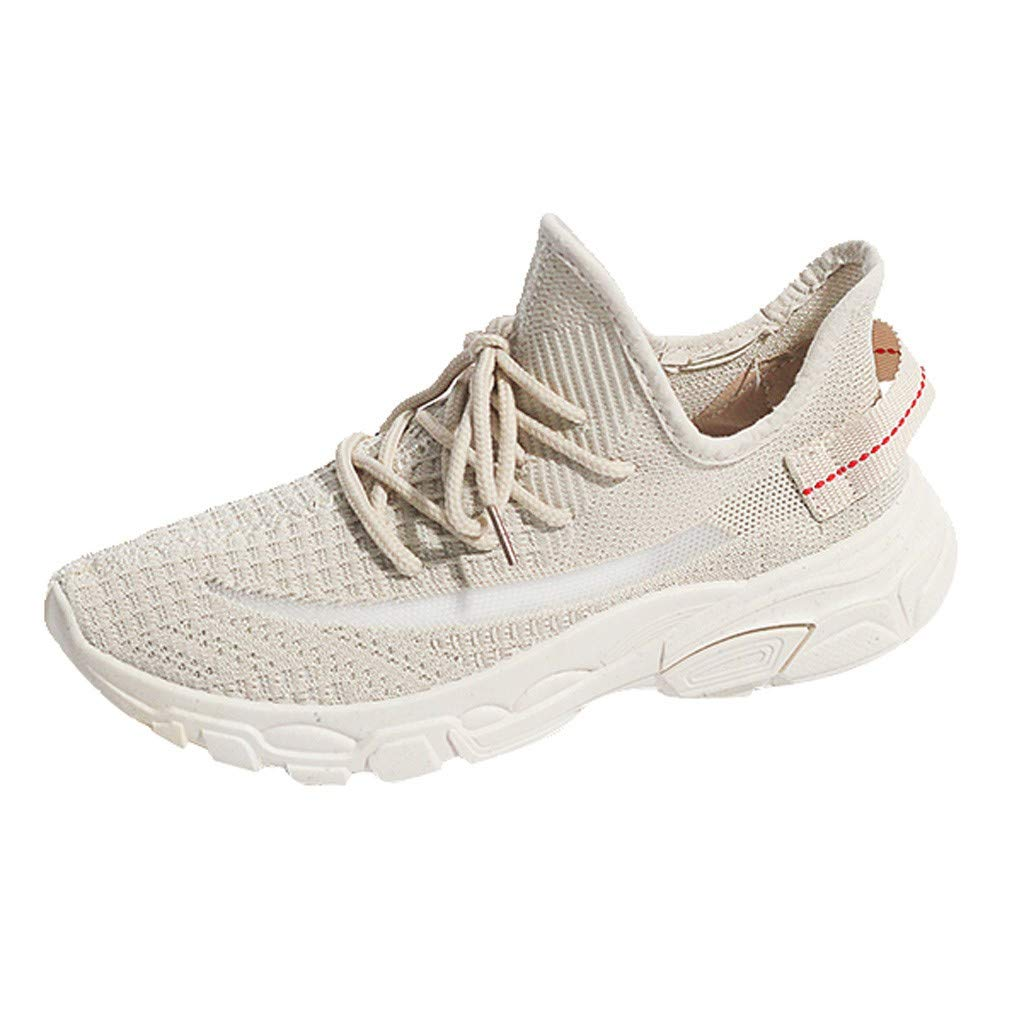 HENWERD Mens Running Shoes for Women Breathable Non-Slip Athletic Walking Tennis Sneakers (Beige,6.5 US)