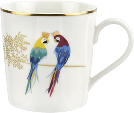 Amazon Com Portmeirion Home Gifts Posing Parrots Mug Single White Gold Coffee Cups Mugs