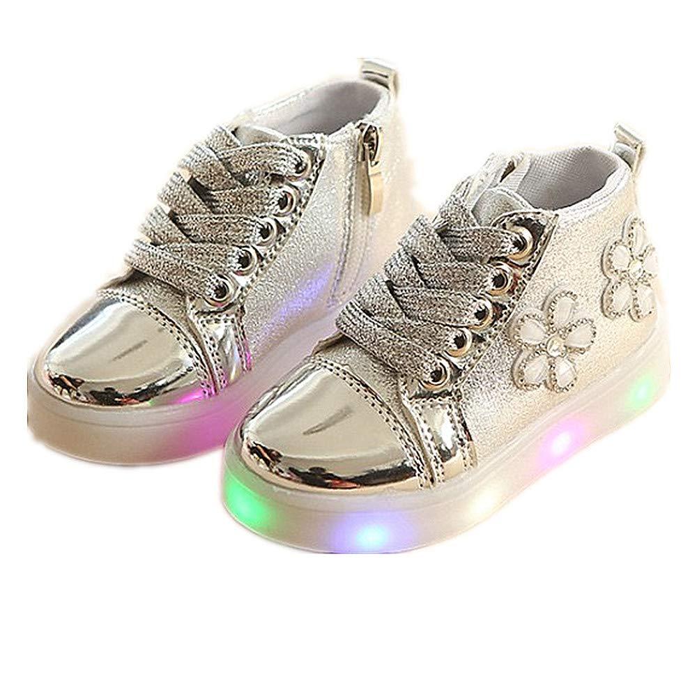 edv0d2v266 Autumn Toddler Sport Running Baby Shoes Boys Girls LED Luminous Shoes Sneakers (Silver 27/10MUSToddler)