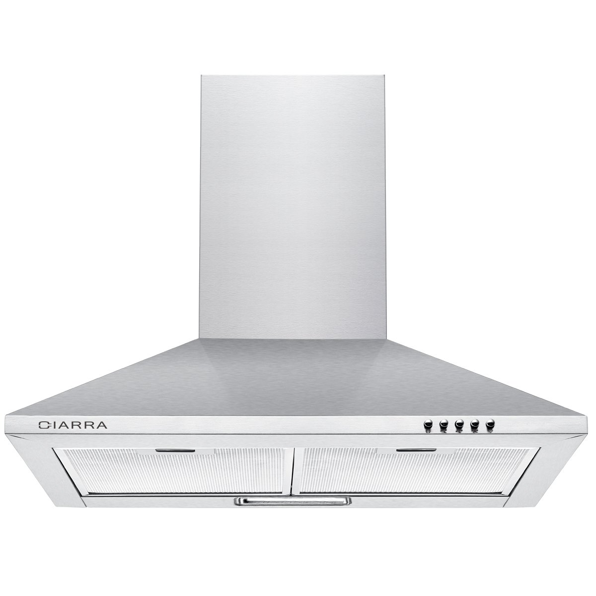 CIARRA Cooker Hoods 60cm Stainless Steel Chimney Range Hood 600mm Recirculating Duct Kitchen Ventilation Extractor Fan with Grease Aluminum Filters Silver [Energy Class C] CBCS6201