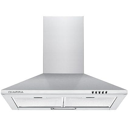 Ciarra, cappa da cucina 60cm in acciaio inossidabile (argento ...