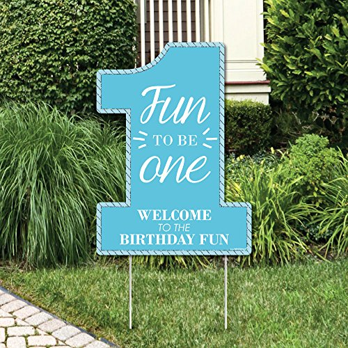 Big Dot of Happiness 1st Birthday Boy - Fun to be One - Party Decorations - First Birthday Party Welcome Yard Sign ()
