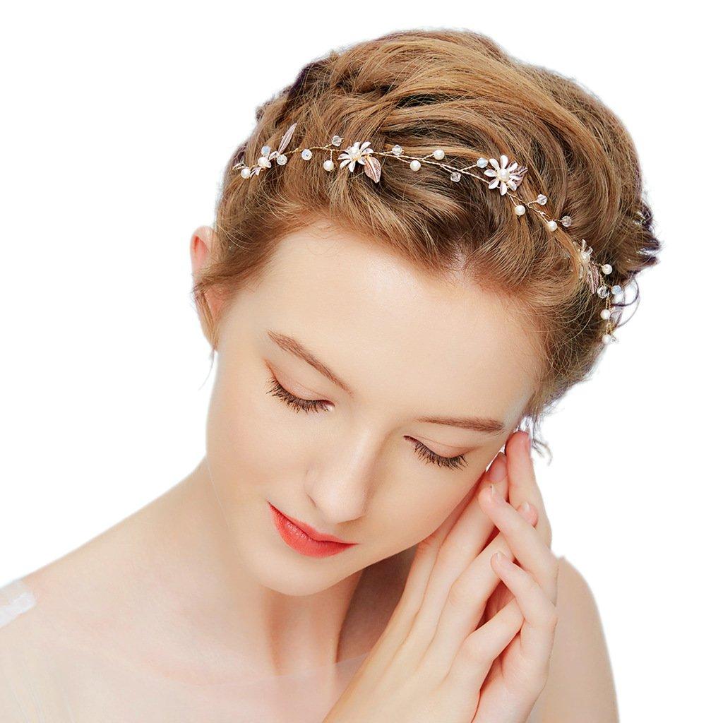 d5d267177d29ed hopewey Blume Haarschmuck Hochzeit Vintage Braut Haar Kamm haarclips Blatt  Haar Accessoires Braut Kopfschmuck Stirnbänder Strass HWMD201: Amazon.de:  ...