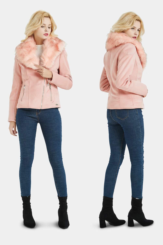 3 Farben zur Auswahl Bike Jacke f/ür Winter S Moto Jacket mit Abnehmbarem Kunstpelzkragen und Fleece Futter Bellivera Damen Kunstwildleder Kurze Jacke Herbst Schwarz